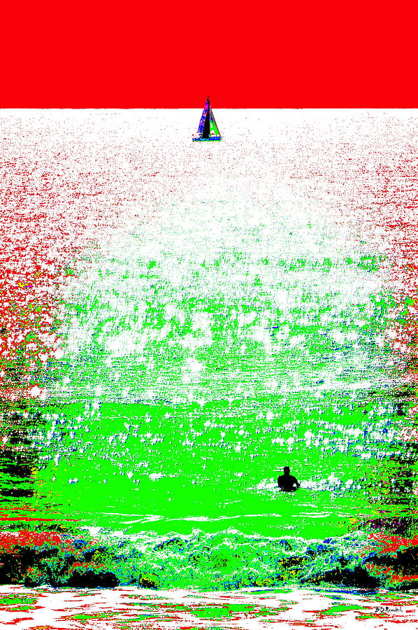 Water Photograph - Sailboat And Swimmer -- 2a by Brian D Meredith