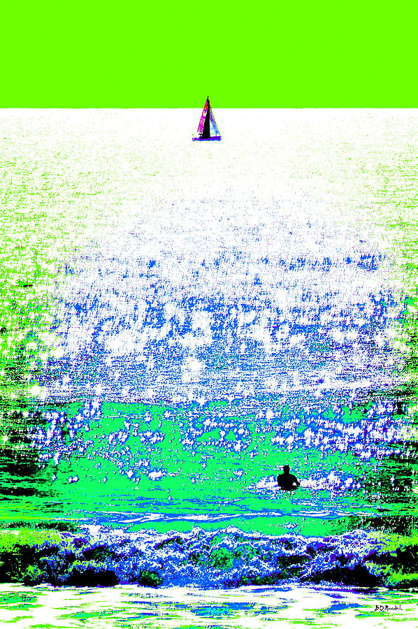 Water Photograph - Sailboat And Swimmer -- 2b by Brian D Meredith