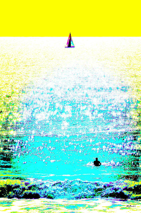 Water Photograph - Sailboat And Swimmer -- 2c by Brian D Meredith