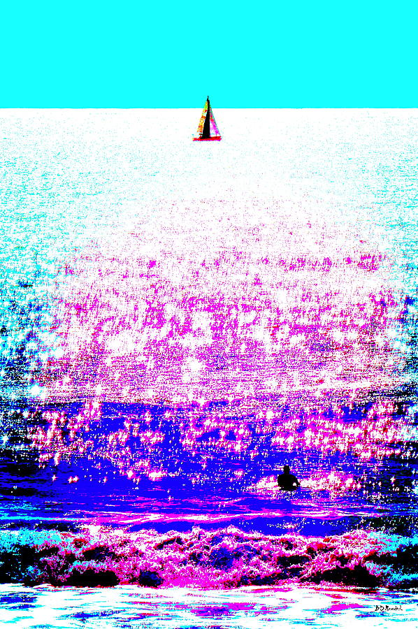 Water Photograph - Sailboat And Swimmer -- 2d by Brian D Meredith