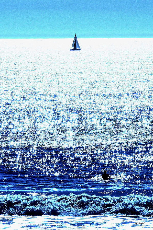 Water Photograph - Sailboat And Swimmer by Brian D Meredith