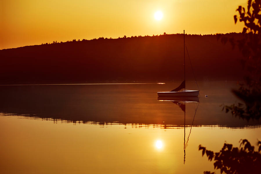 Morning Photograph - Sailboat At Sunrise by Jo Ann Snover