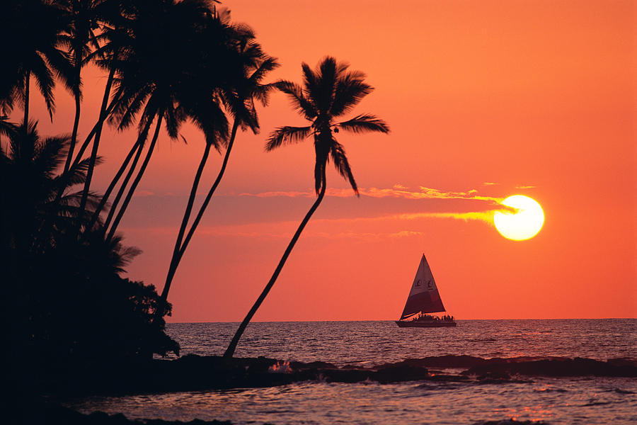 Big Island Photograph - Sailboat At Sunset by Bob Abraham - Printscapes