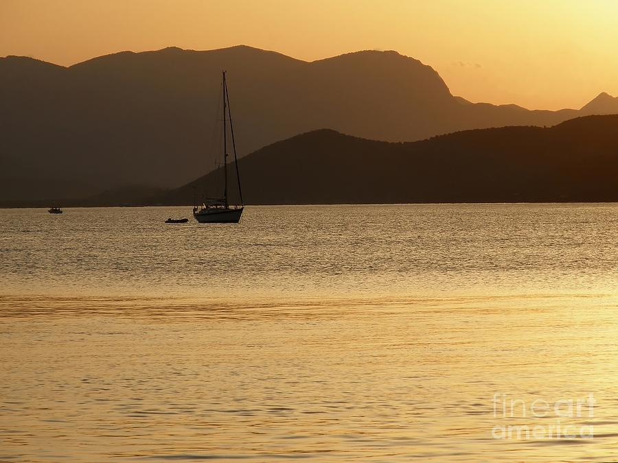 Sunset Photograph - Sailboat At Sunset by Sophie Vigneault