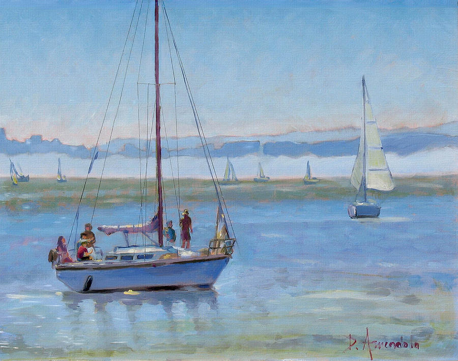 Seascape Painting - Sailboat Coming To Port by Dominique Amendola