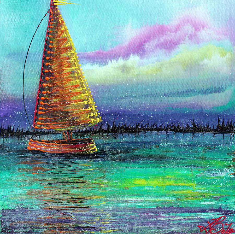 Sailboat Painting - Sailboat Cruise by Laura Barbosa