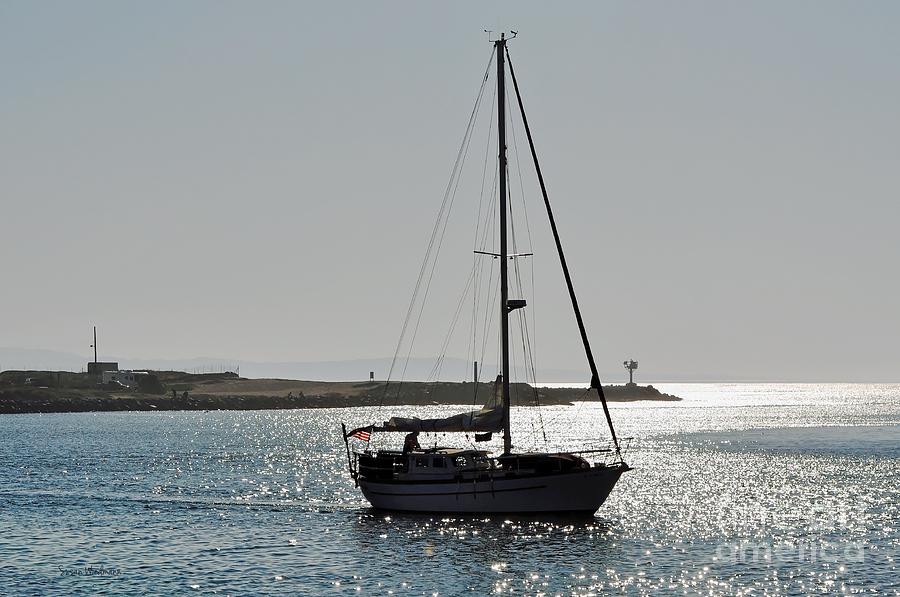 Susan Wiedmann Photograph - Sailboat Heading Home by Susan Wiedmann