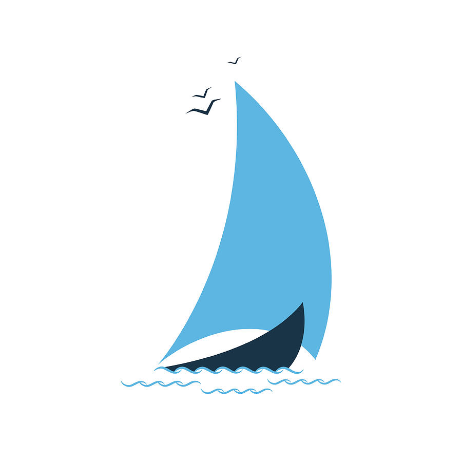 Sailboat In The Sea. Concept For The Digital Art by Liubov Trapeznykova