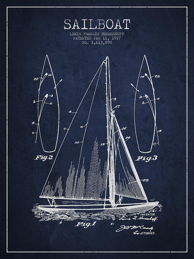 Sailboat Digital Art - Sailboat Patent Drawing From 1927 by Aged Pixel