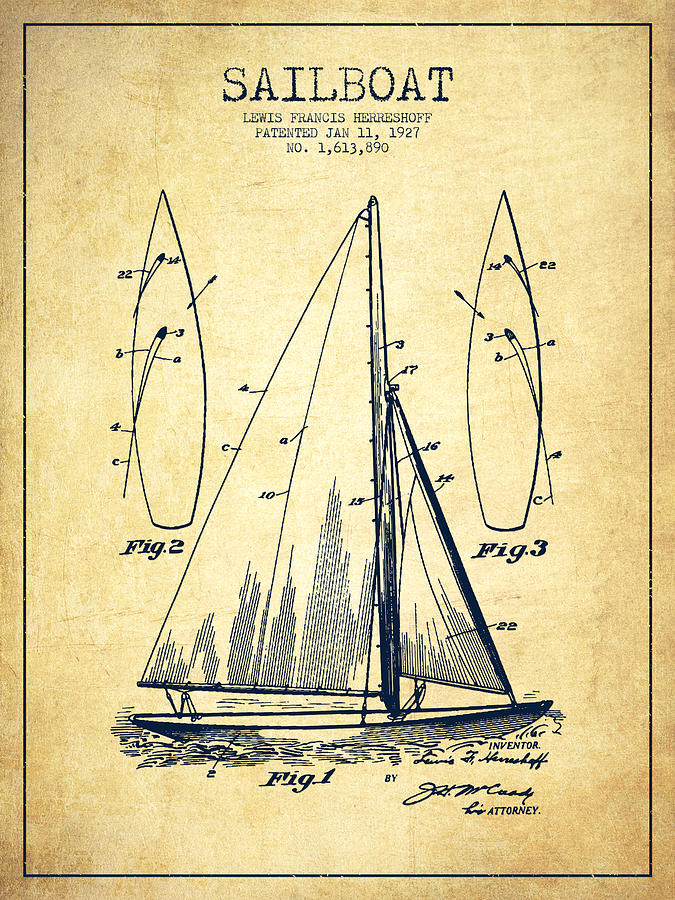 Sailboat Patent Drawing From 1927 - Vintage Digital Art