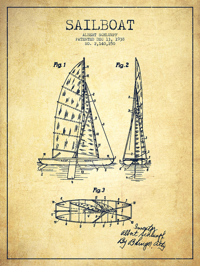 Sailboat Patent Drawing From 1938 - Vintage Digital Art
