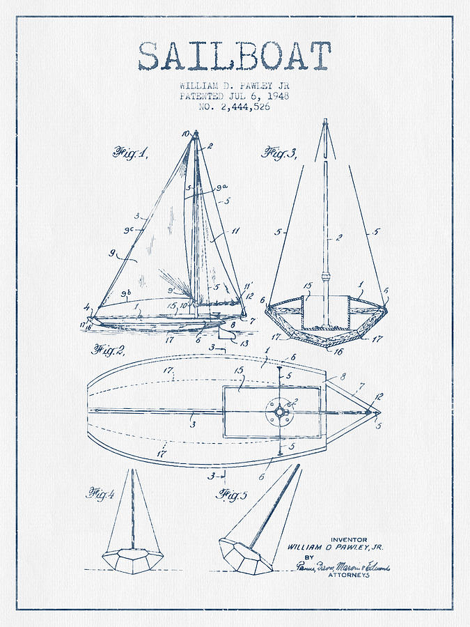 Sailboat Patent Drawing From 1948  -  Blue Ink Digital Art