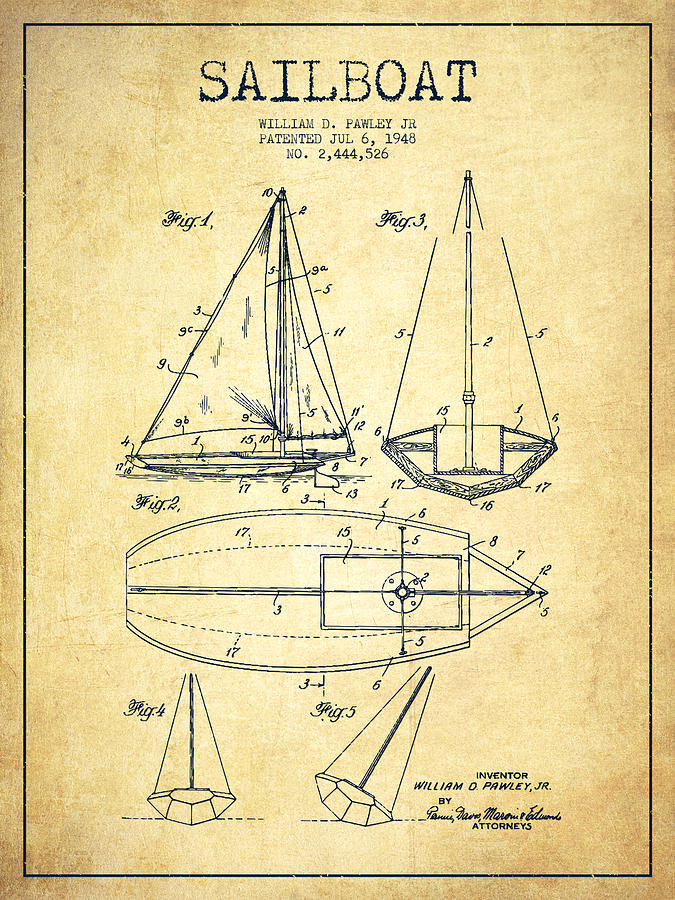 Sailboat Patent Drawing From 1948 - Vintage Digital Art