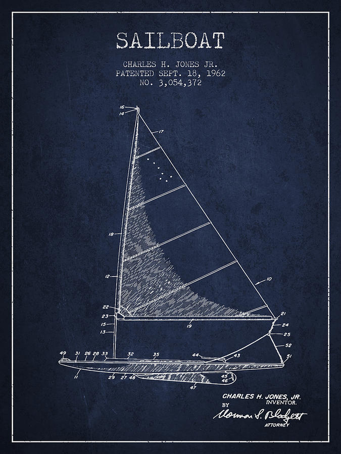 Sailboat Patent From 1962 - Navy Blue Digital Art