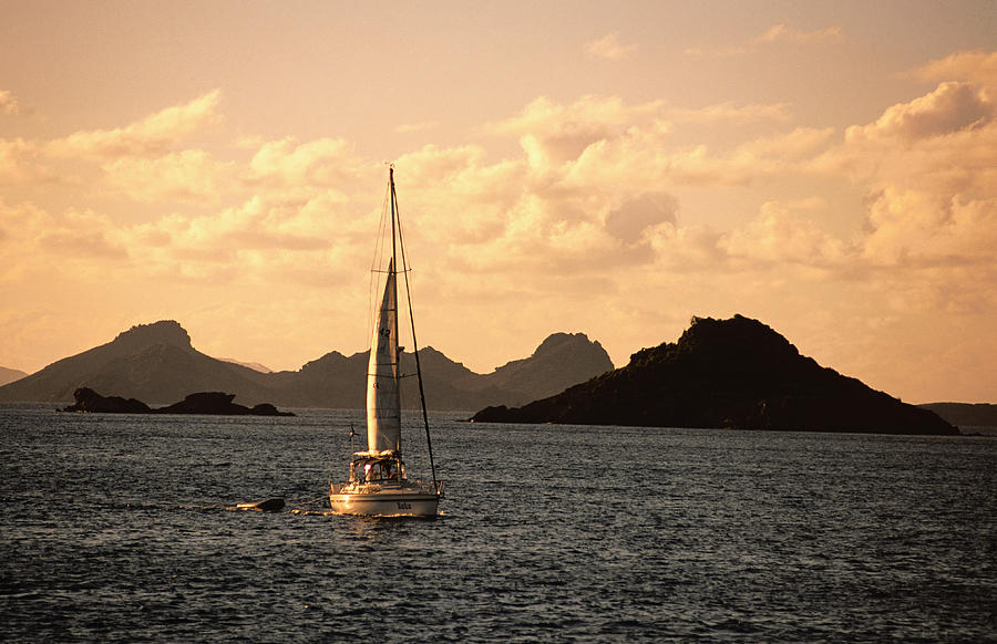Sailboat With Ile Petit Jean In Photograph by Holger Leue