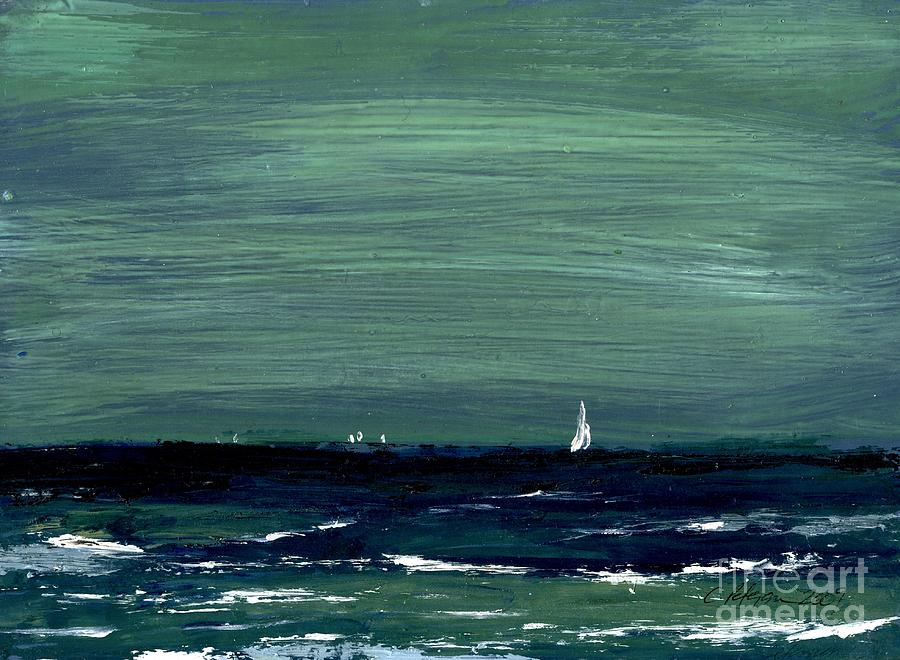 Sailboats Across A Rough Surf Ventura Painting by Cathy Peterson