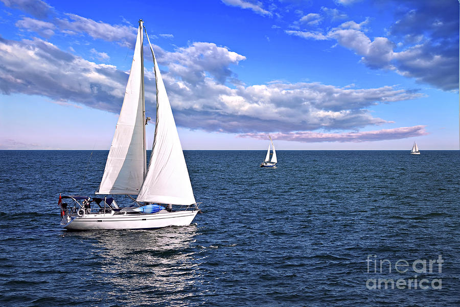Boat Photograph - Sailboats at sea by Elena Elisseeva