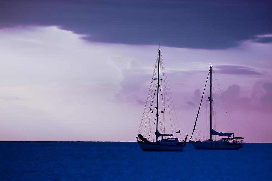 Sailboats Photograph - Sailboats At Sunset by Don Schwartz