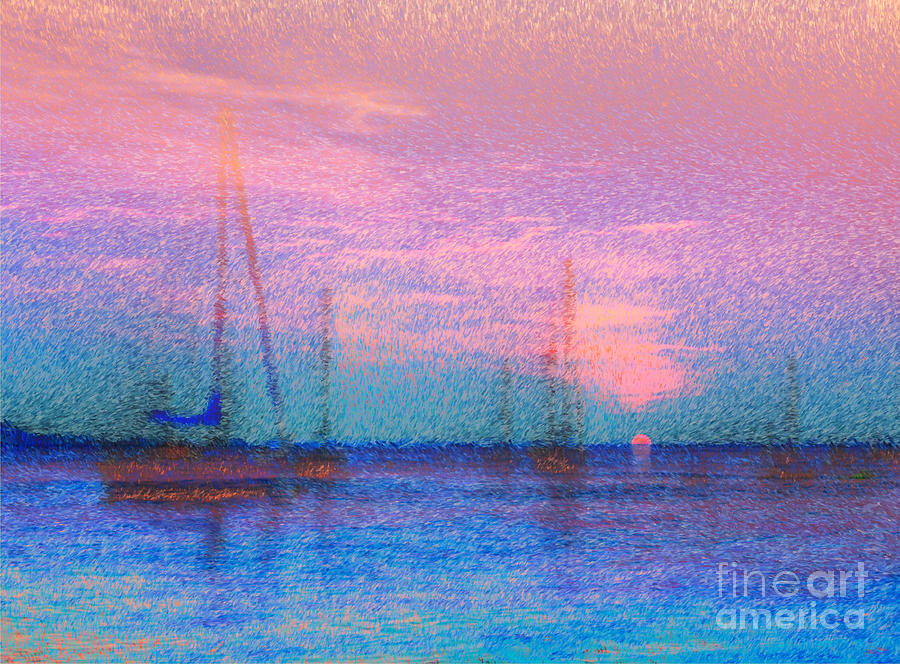 Boats Photograph - Sailboats At Sunset by Jeff Breiman