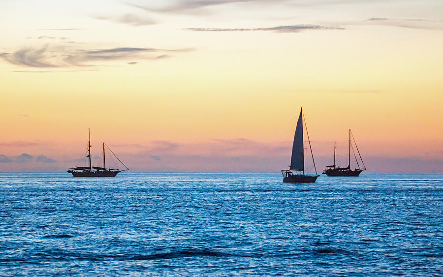 Sailboats at Sunset off Key West Florida by Photographic Arts And Design Studio