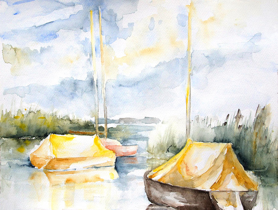 Boat Painting - Sailboats Awakening by Barbara Pommerenke