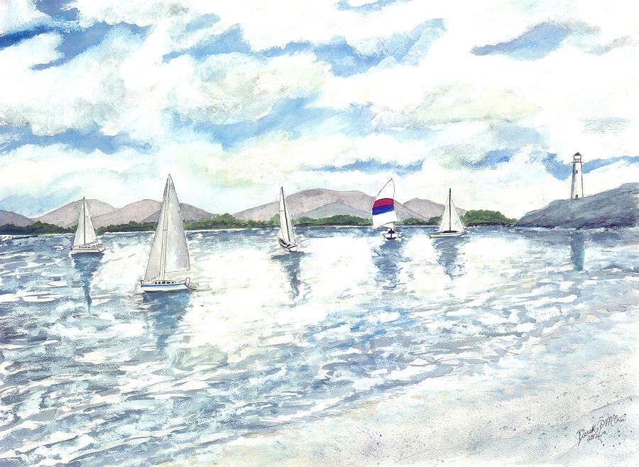 Sailboats Painting - Sailboats by Derek Mccrea