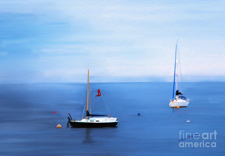 Sailboats in Skerries Harbor- mixed media photography by Patricia Griffin Brett