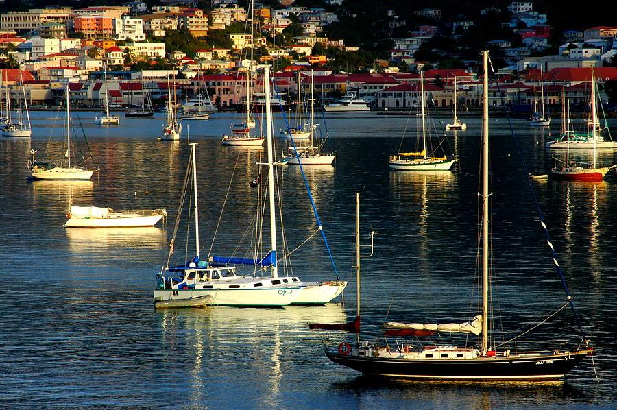 Sailboats Photograph - Sailboats Sunrise by Tim Nielsen