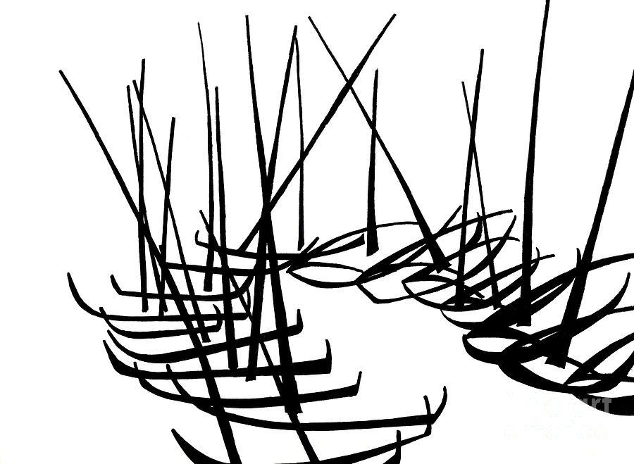 Boats Drawing - Sailboats Waiting On Shore by Menno Bos