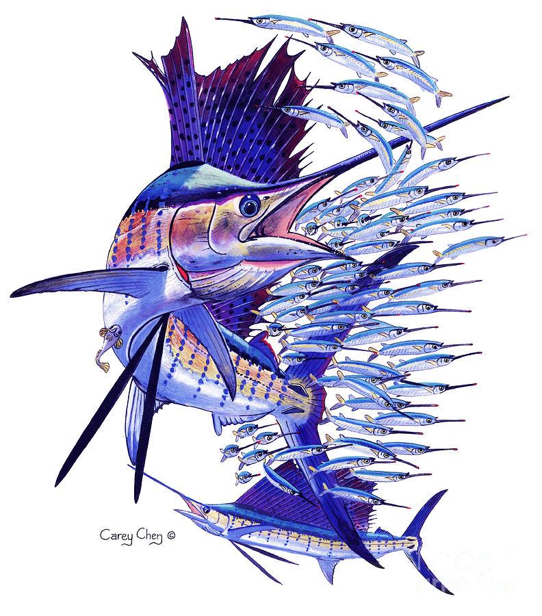 Sailfish Painting - Sailfish Ballyhoo by Carey Chen
