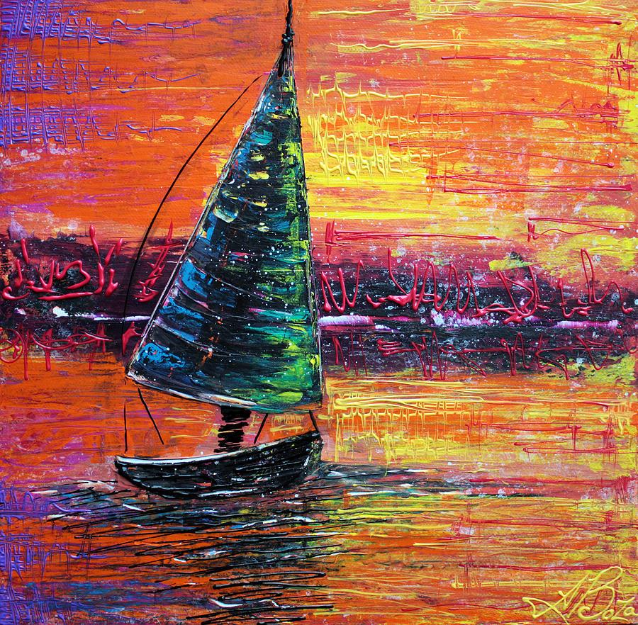 Sailing Painting - Sailing at Sunset by Laura Barbosa