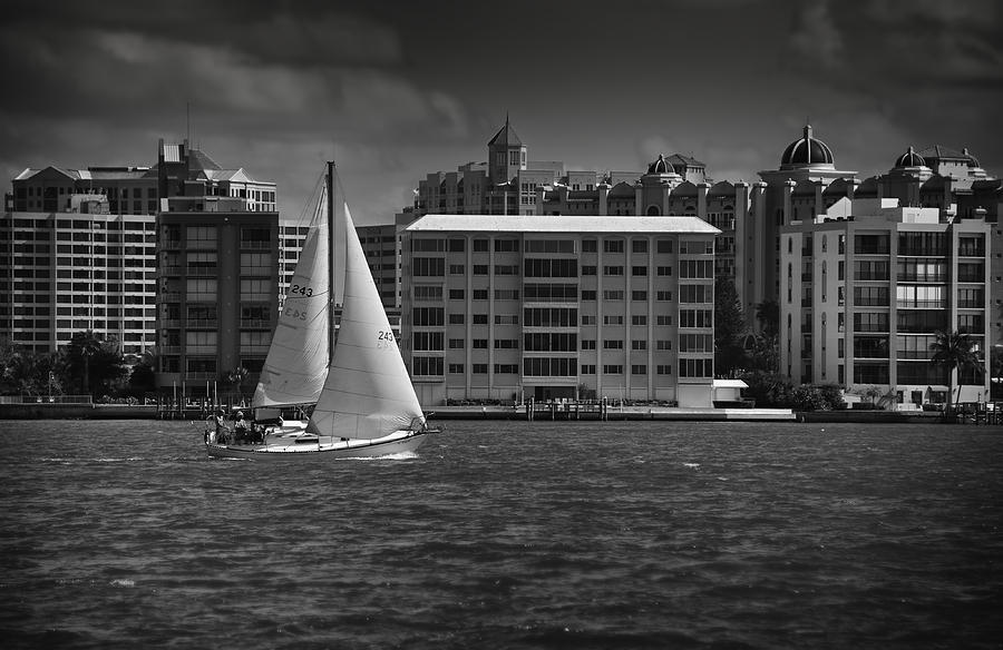 B&w Photograph - Sailing Away  by Mario Celzner