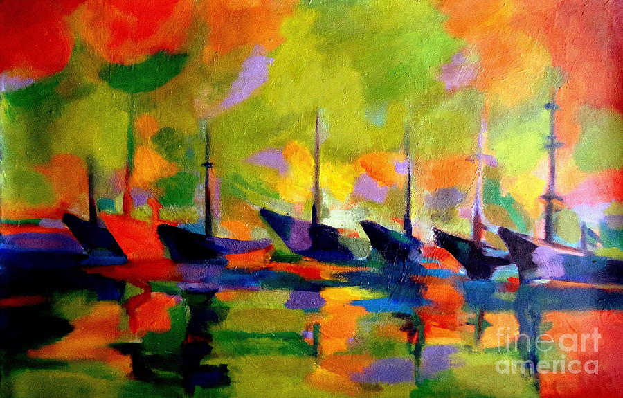 Seascape Paintings Painting - Sailing Boats By The River by Helena Wierzbicki
