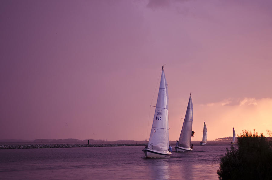 Sailboat Photograph - Sailing From The Sun by Kelly Reber