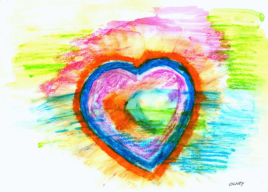Heart Painting - Sailing Heart by Carolyn Olney