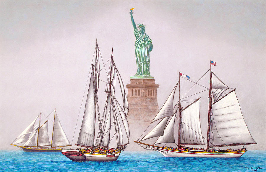 America Painting - Sailing In Good Company by David Linton