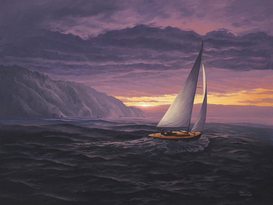 Sailing in Paradise - Big Sur by Del Malonee