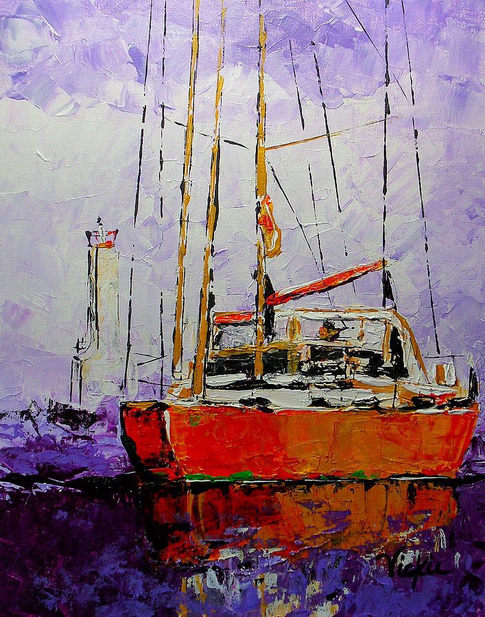 Sail Painting - Sailing In The Mist by Vickie Warner