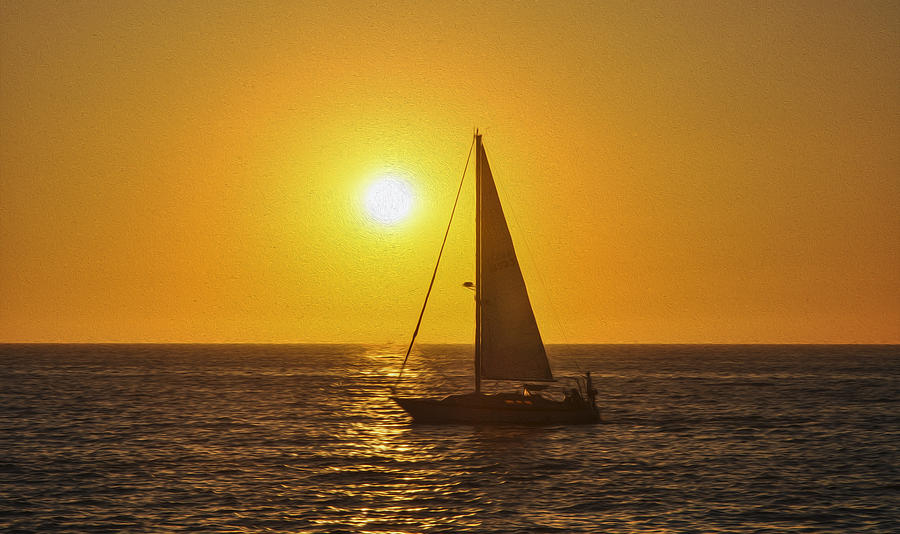 Sunset Painting - Sailing Into The Sunset by Aged Pixel