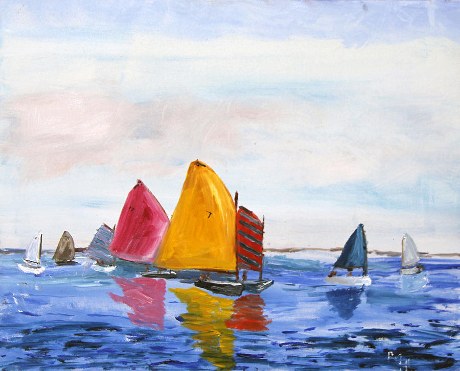 Nantucket Sound Painting - Sailing Nantucket Sound by Michael Helfen
