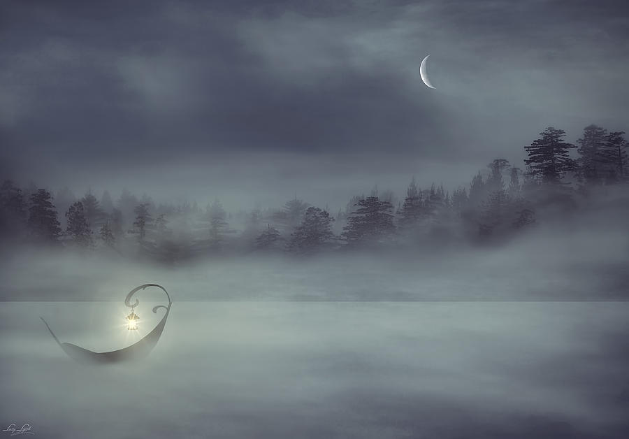 Boat In The Fog Digital Art - Sailing Odyssey by Lourry Legarde
