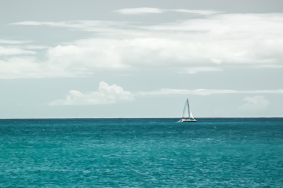 Digital Painting Photograph - Sailing On A Turquoise Sea by Jason Bartimus