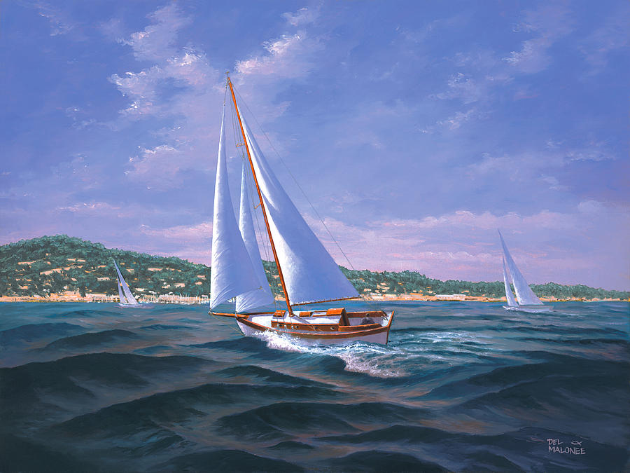 Sailing on Monterey Bay by Del Malonee