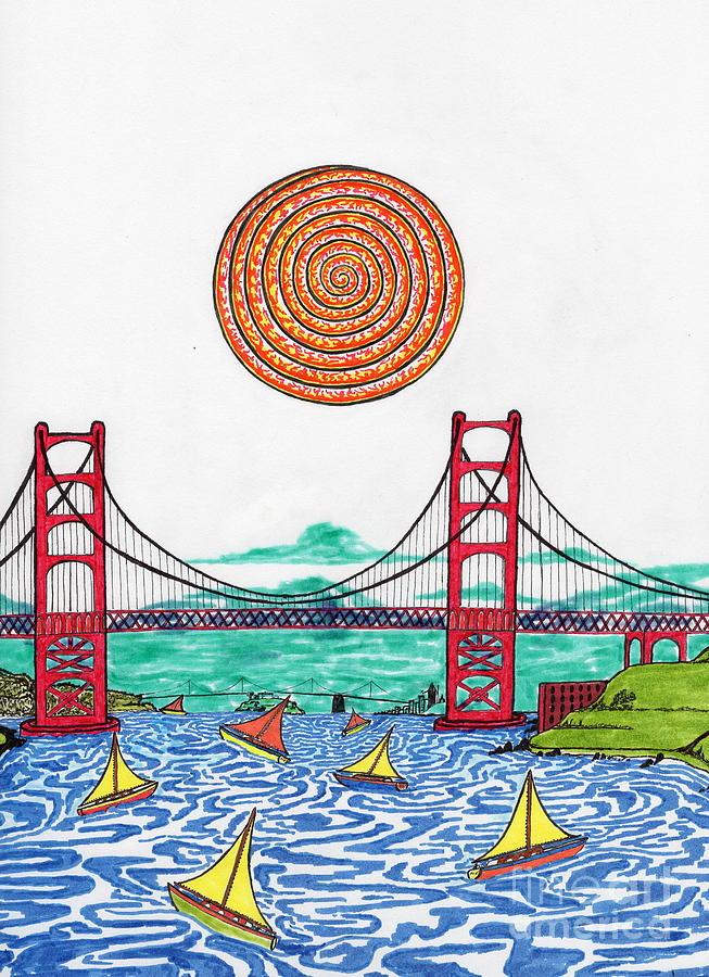 San Francisco Drawing - Sailing On San Francisco Bay by Michael Friend