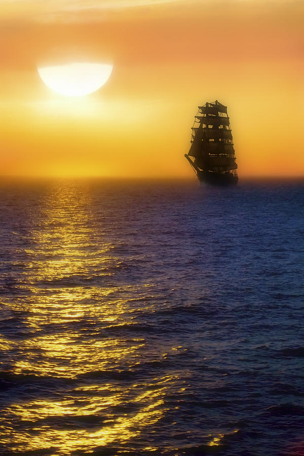 Sailing Ship Photograph - Sailing Out Of The Fog At Sunrise by Jason Politte