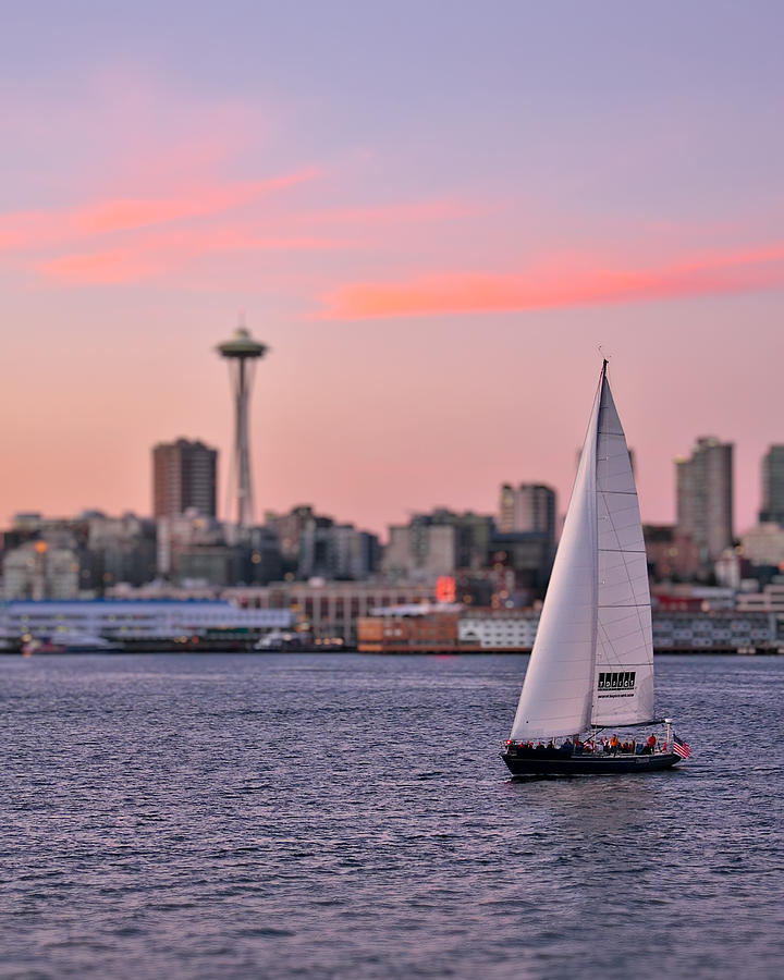 Afterglow Photograph - Sailing Puget Sound by Adam Romanowicz