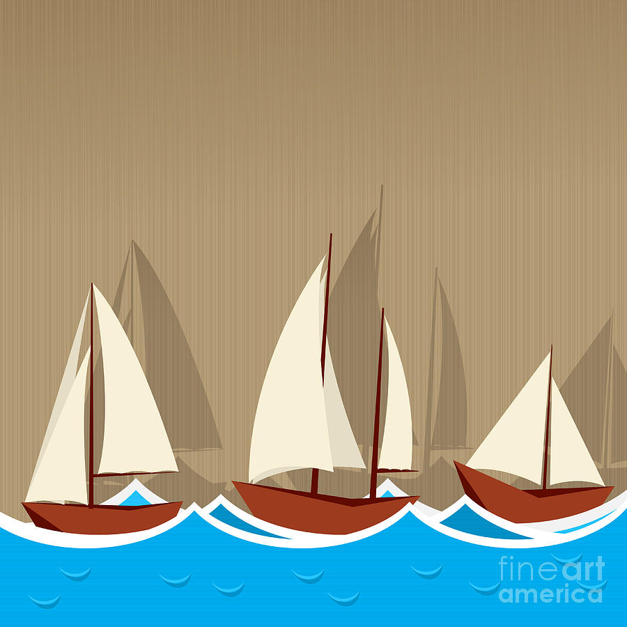 Adventure Digital Art - Sailing Ships Background by Richard Laschon