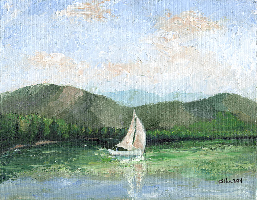 Surrealist Painting - Sailing The Lake 1 by William Killen
