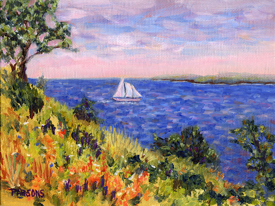 Sailing Painting - Sailing Through Belfast Maine by Pamela Parsons