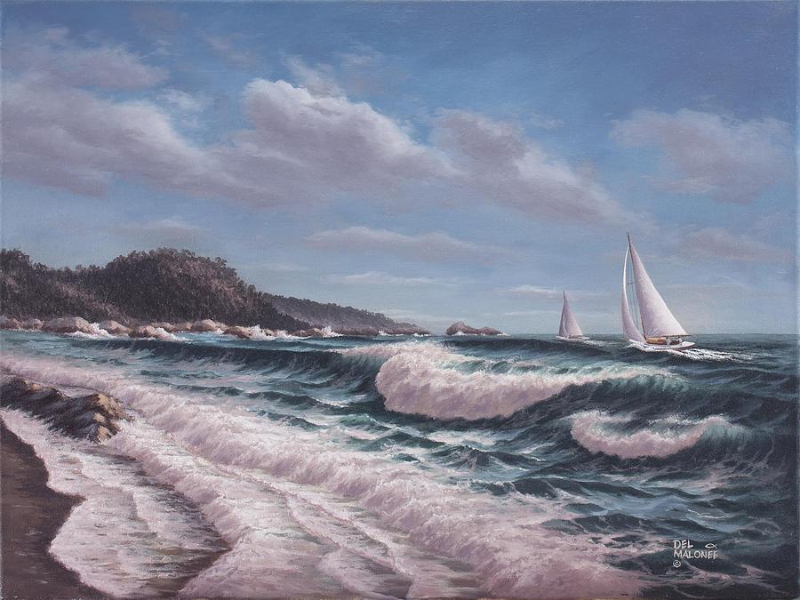 Sailing Toward Point Lobos by Del Malonee